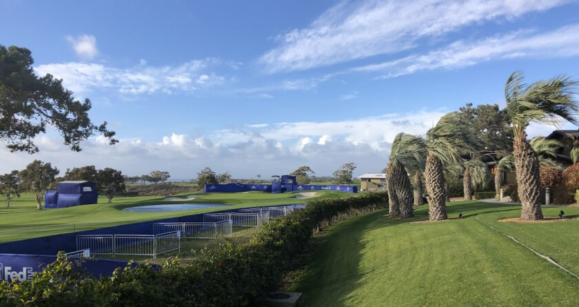 The high winds Monday that bent trees and toppled TV towers led to closure of the Torrey Pines Golf Course.