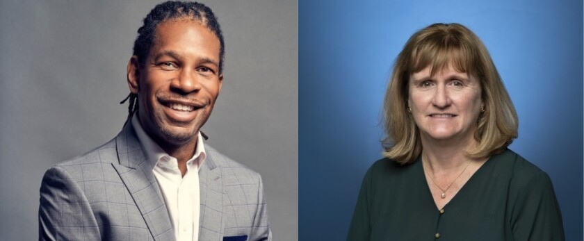 Diptych of LZ Granderson and Valerie Nelson in headshots