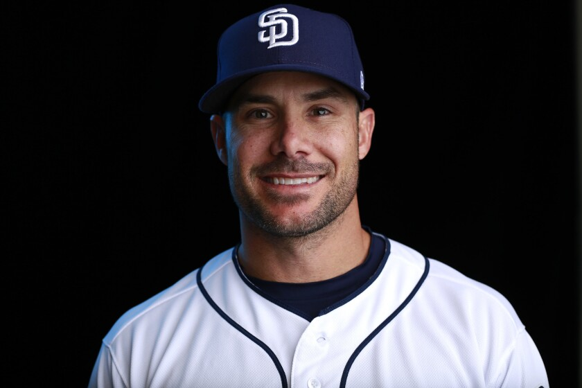 San Diego Padres first base coach Skip Schumaker on Feb. 21, 2018. (Photo by K.C. Alfred/ San Diego Union -Tribune)