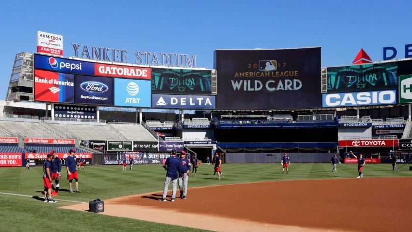 The Minnesota Twins workout at Yankees Stadium, Monday, Oct. 2, 2017, in New York. The Twins face th