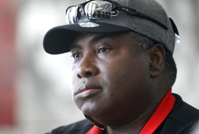 Aztecs head coach Tony Gwynn spoke to the media after watching the announcement of the San Deigo State's regional bid in May of 2013.