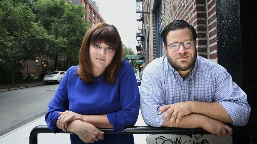 NEW YORK, NEW YORK--JUNE 23, 2017--Amanda Litman, left, and Ross Morales Rocketto, right, co-founded