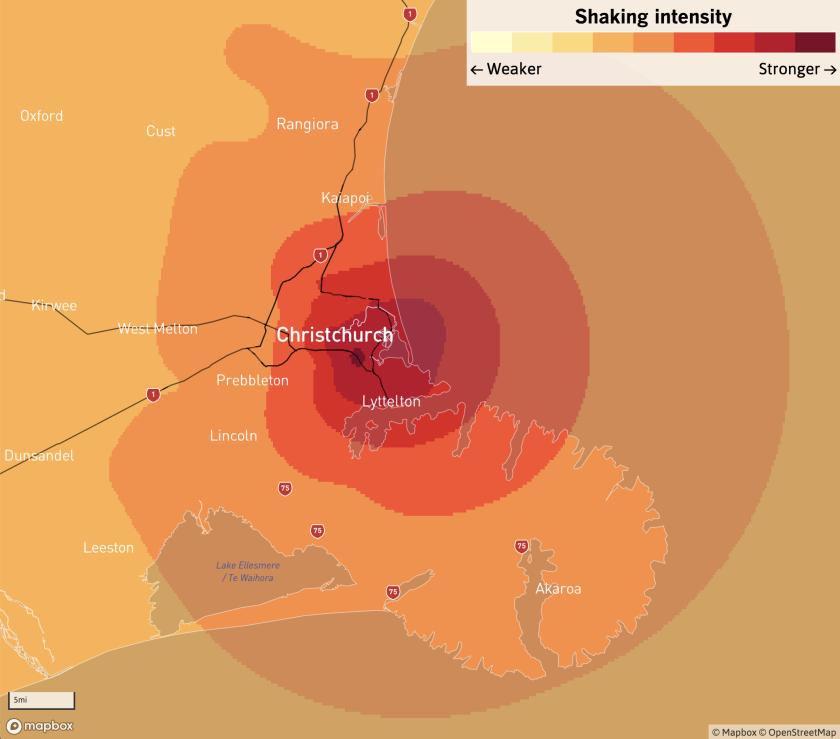 Christchurch shakemap