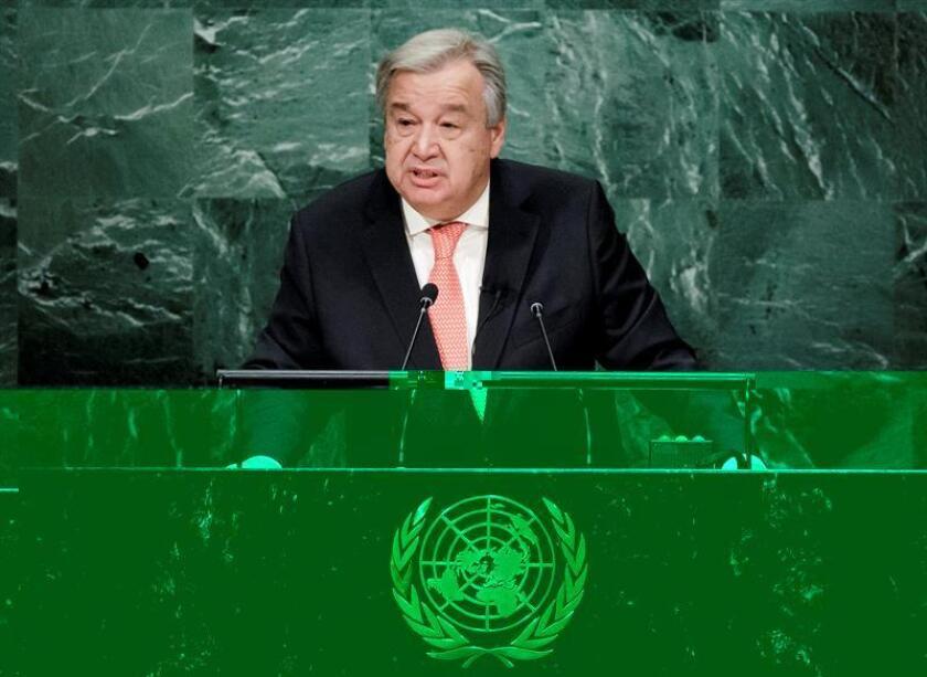 El nuevo secretario general de la ONU, António Guterres, se estrenó hoy al frente de la organización internacional con un llamamiento por la paz en el mundo. EFE/ARCHIVO