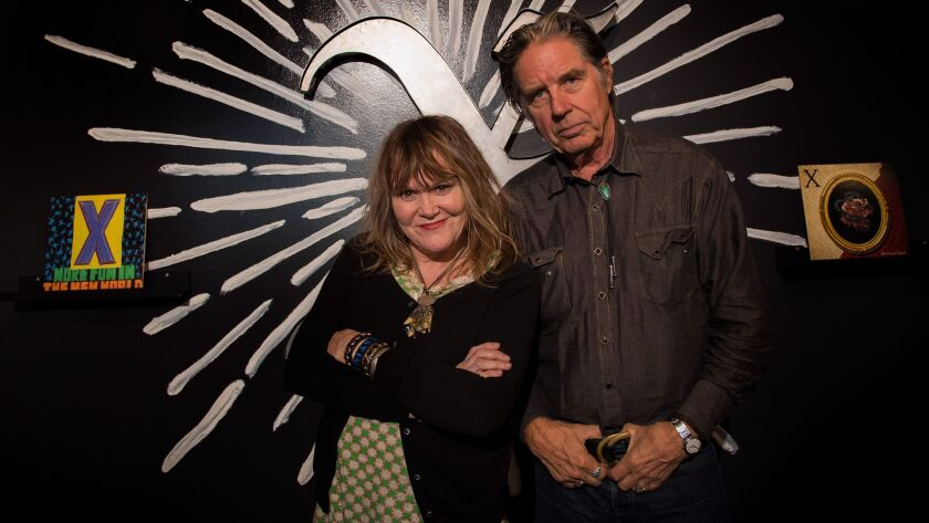 X founding members Exene Cervenka and John Doe visit the new Grammy Museum exhibit marking the 40th anniversary of their band.