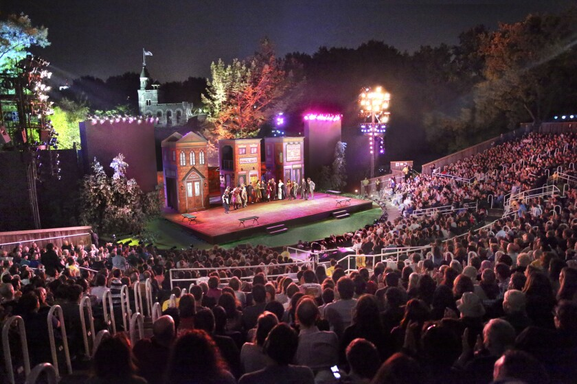 A view of the Delacorte Theater in Central Park, in the borough of Manhattan in New York City. It i