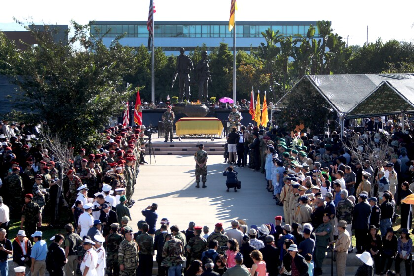 Hundreds attended the Lost Soldiers Ceremony at Sid Goldstein Freedom Park in Westminster on Oct. 26. The commingled remains of 81 South Vietnamese airborne soldiers who were shot down in a U.S. military C-123 during the Vietnam War in late 1965 were honored and laid to rest at Westminster Memorial Park, after having been stored in an U.S. Army facility for 33 years.