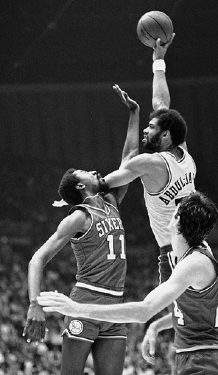 Kareem Abdul-Jabbar vs. Philadelphia 76ers in Game 5 of the 1980 NBA Finals.