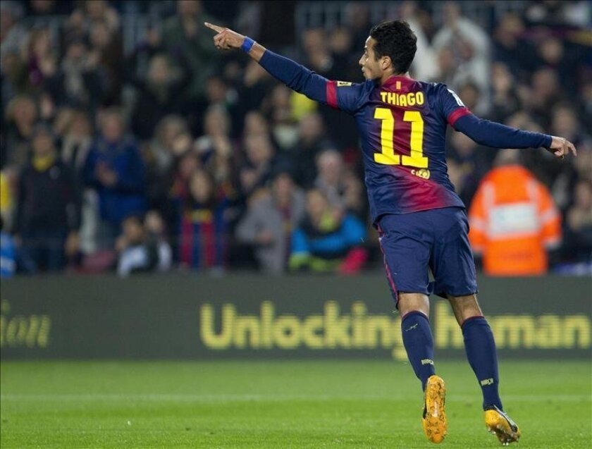 El centrocampista del Barcelona Thiago Alcántara celebra un gol. EFE/Archivo