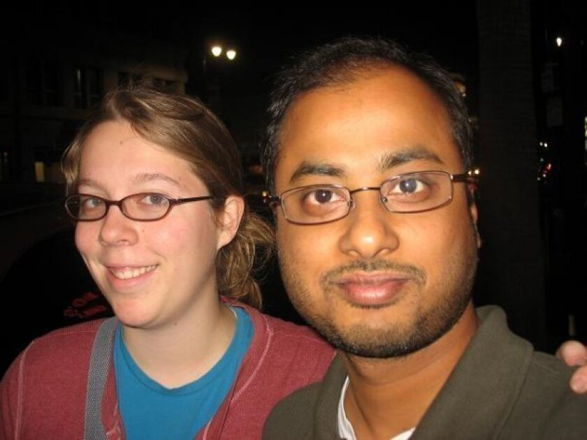 """This undated photo shows Ashley Hasti, left, and Mainak Sarkar, who police say carried out a murder-suicide at the University of California, Los Angeles on Wednesday, June 1, 2016. Sarkar had a """"kill list"""" with multiple names that included professor Bill Klug, Hasti who was found dead in a Minneapo"""
