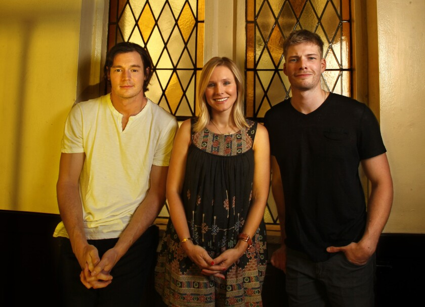 """Actors Benjamin Walker, left, Kristen Bell and Hunter Parrish star in in the Hollywood Bowl's production of """"Hair."""""""