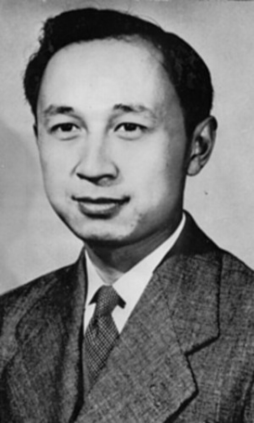 Qian Xuesen, seen in 1948, a Chinese-born aeronautical engineer educated at Caltech and the Massachusetts Institute of Technology, was credited with leading China to launch intercontinental ballistic missiles, Silkworm anti-ship missiles, weather and reconnaissance satellites and to put a human in space in 2003.