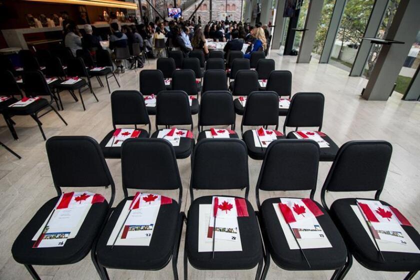 Fotografía de un conjunto de sillas con banderas canadienses durante una ceremonia especial de ciudadanía, en la que 46 inmigrantes recibieron la nacionalidad canadiense, hoy, lunes 24 de septiembre de 2018, en Toronto (Canadá). EFE