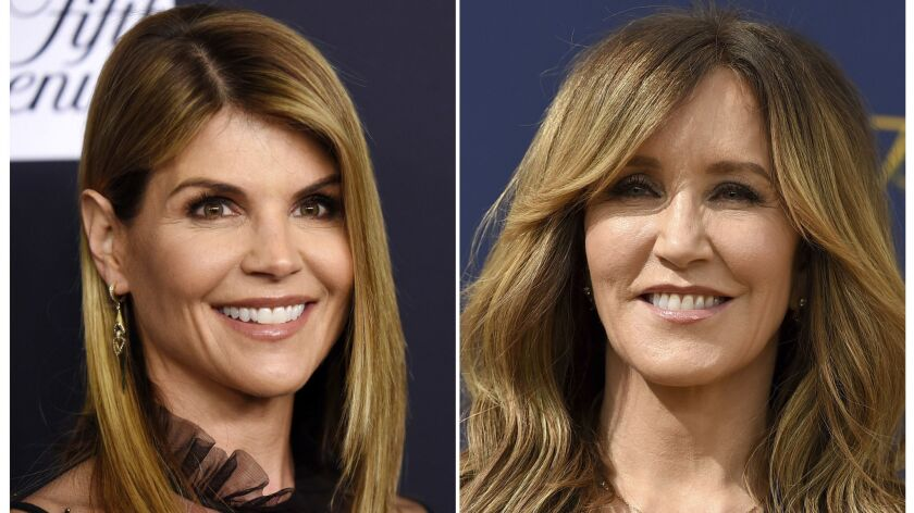 This combination photo shows actress Lori Loughlin at the Women's Cancer Research Fund's An Unforget