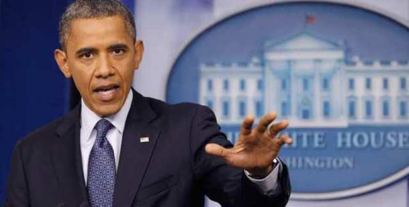 President Obama speaks at a news conference. He later tried to clarify a remark that the private sector was doing well creating jobs compared with state and local governments, but critics were having none of it.