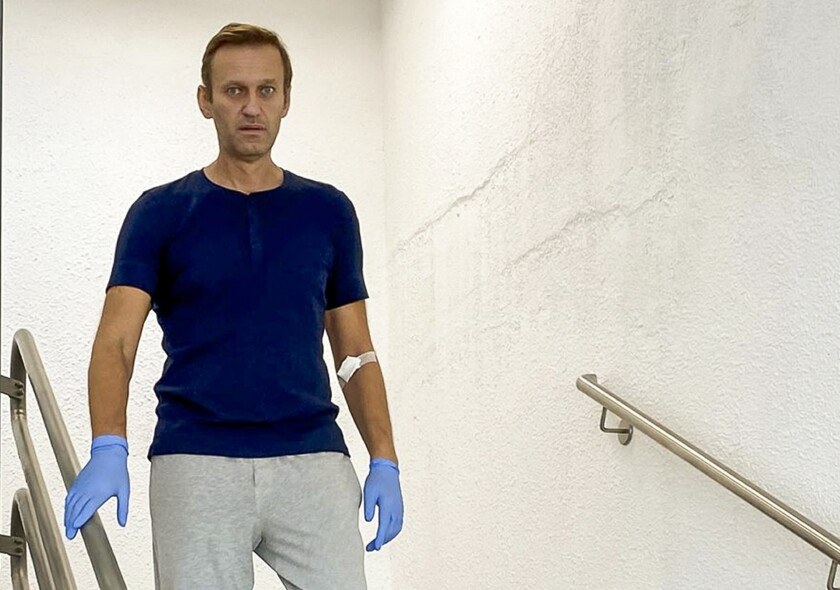 An image taken from Instagram video shows Alexei Navalny at a Berlin hospital on Sept. 19.
