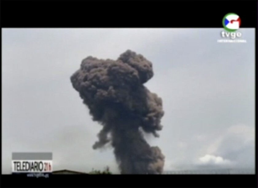 This TVGE image shows smoke rising over the blast site at a military barracks in Bata, Equatorial Guinea