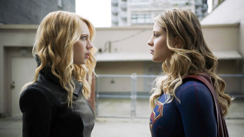 """Yael Grobglas, left, and Melissa Benoist in """"Supergirl"""" on The CW."""