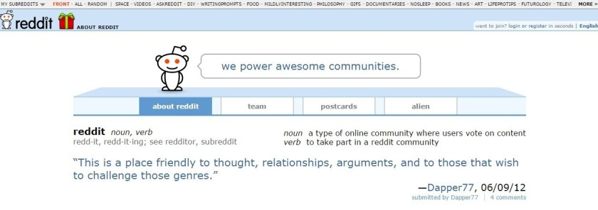 """Reddit's """"About"""" page"""