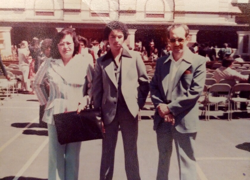 A family photo of Roberto Lovato as a teenager with his mom and dad at Buena Vista Horace Mann in San Francisco.
