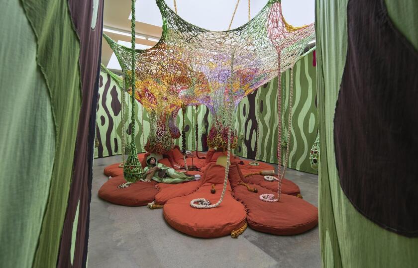 Ernesto Neto's installation at Tanya Bonakdar Gallery