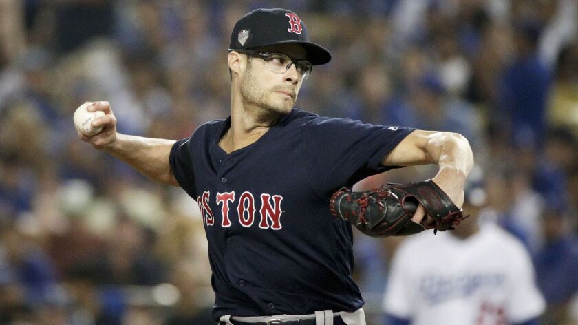 Joe Kelly helped the Boston Red Sox beat the Dodgers in the World Series this year. He pitched in all five games, tossing six scoreless innings and striking out 10 of the 22 batters he faced. He walked none.