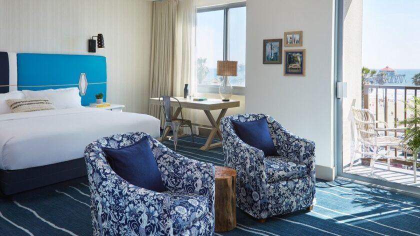 A room with an ocean view at the Shorebreak Kimpton Resort in Huntington Beach, California. Credit: