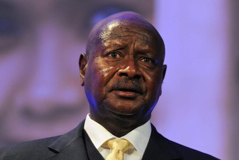 FILE - In this Wednesday, July 11, 2012 file photo, Ugandan President Yoweri Museveni speaks during the London Summit on Family Planning organized by the UK Government and the Bill & Melinda Gates Foundation with the United Nations Population Fund, in central London. Uganda's president said in a le