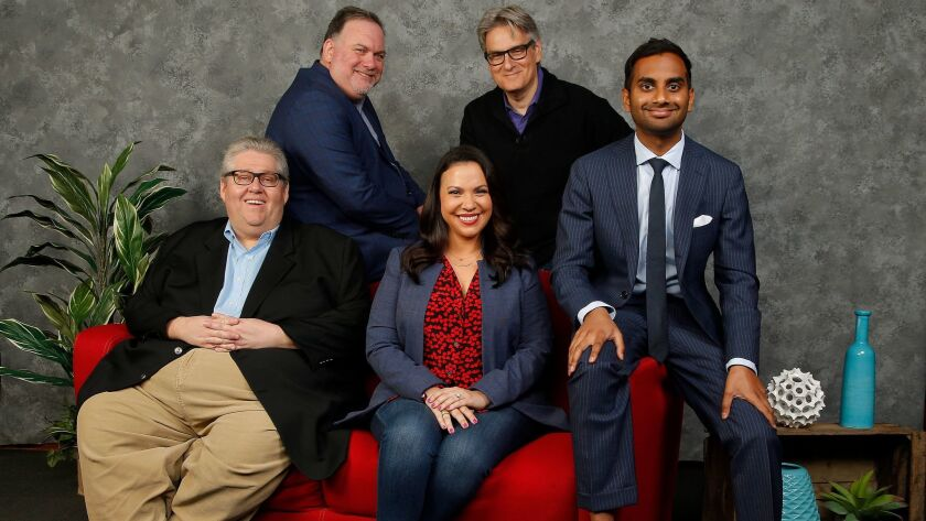 "Showrunners joined together to chat about the industry: David Mandel (""Veep""), from left, Bruce Miller (""The Handmaid's Tale""), Gloria Calderon Kellett (""One Day at a Time""), Peter Gould (""Better Call Saul"") and Aziz Ansari (""Master of None"")."