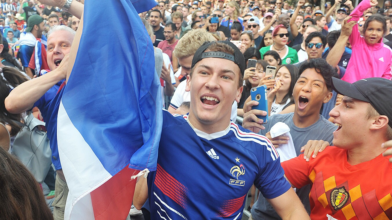 Soccer fans united to cheer on as France beat Croatia in the World Cup Championship at a viewing party in North Park on Sunday, July 15, 2018.