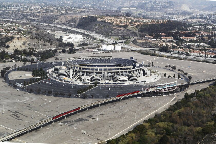 Qualcomm Stadium as seen from the air, looking northeast.