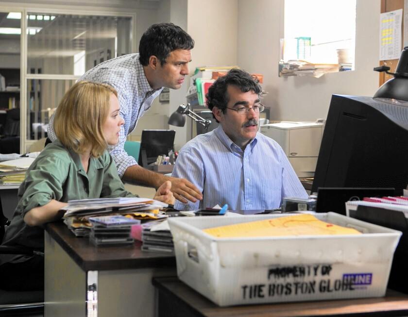 "Rachel McAdams, Mark Ruffalo and Brian d'Arcy James in ""Spotlight"""