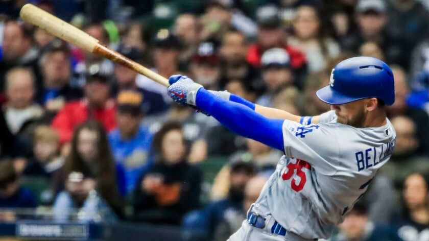 The Dodgers' Cody Bellinger hits a home run in the sixth inning against the Milwaukee Brewers at Miller Park.
