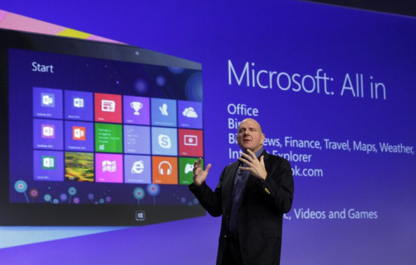 Microsoft CEO Steve Ballmer gives a presentation at last year's launch of Windows 8.