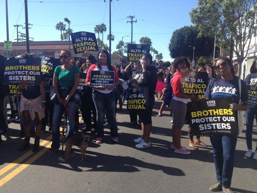 """The """"March Against Sex Trafficking,"""" sponsored by Los Angeles County Supervisor Mark Ridley-Thomas, drew hundreds of people to Western Avenue in South Los Angeles in April."""