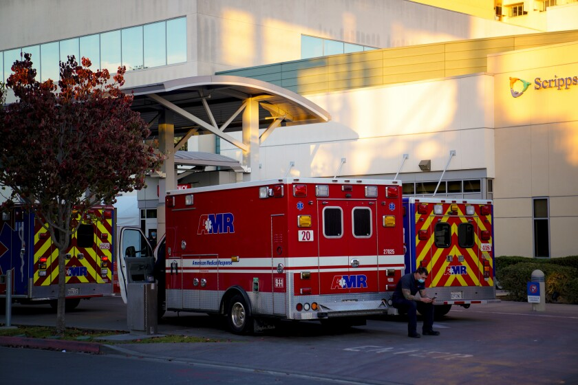 As many as nine ambulances transported patients with various medical conditions to the ER at Scripps Mercy Hospital.