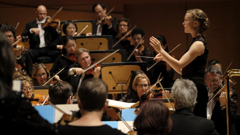 LOS ANGELES, CA October 19, 2017: Mirga Grazinyte-Tyla conducts the LA Phil at Walt Disney Concer