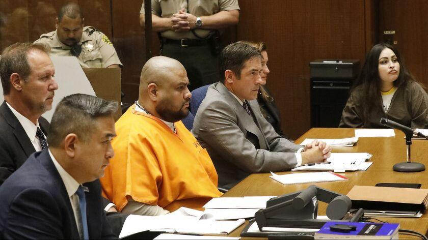 LOS ANGELES, CA - JUNE 07, 2018: Pearl Sinthia Fernandez, 34, right, was sentenced to life in pris