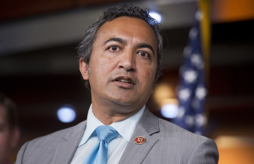 Rep. Ami Bera, D-Calif., speaks at a news conference in the Capitol Visitor Center to oppose a bill that would ban abortions after 20 weeks with no exception to protect the mother's health.