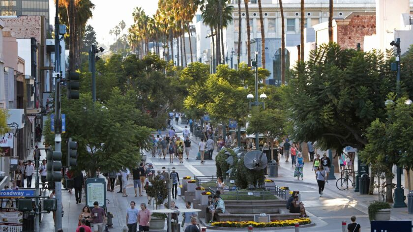 SANTA MONICA, CA. SEP. 11, 2014. View of Third Street Promenade from Santa Monica Place top level in