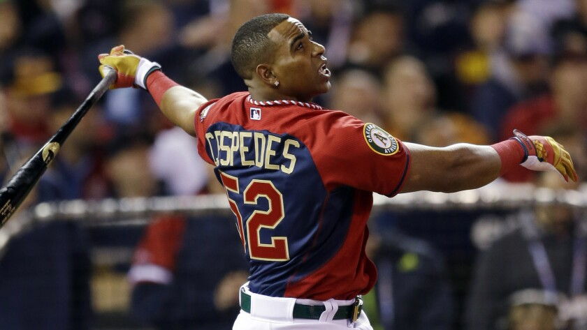 Oakland Athletics outfielder Yoenis Cespedes hits during the MLB All-Star home run derby at Target Field in Minneapolis on Monday.