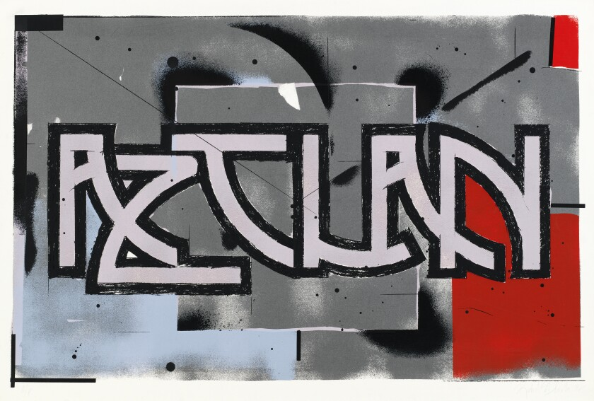 """Blocks of color in grey, red and light blue serve as backdrop to the word """"AZTLAN"""" in stylized letters"""