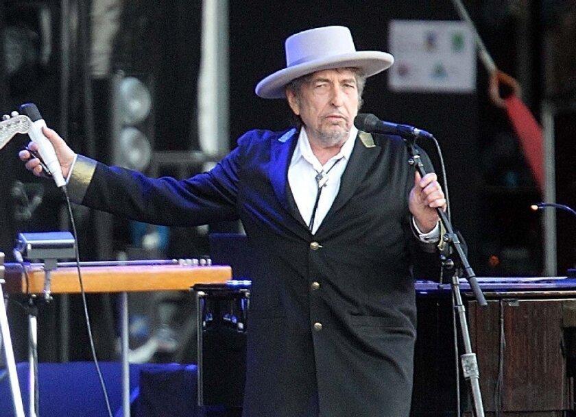 Singer-songwriter Bob Dylan performing in Carhaix, France in 2012.