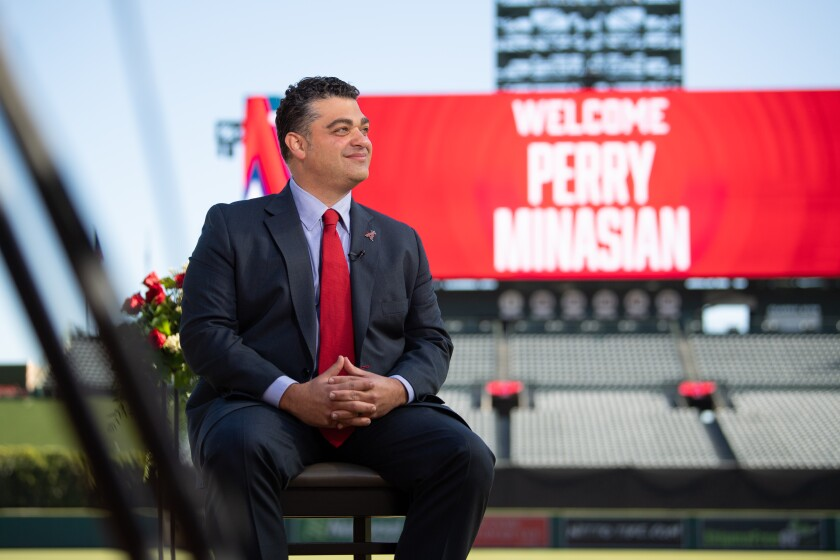 New Angels general manager Perry Minasian is introduced at a news conference on Nov. 17, 2020.
