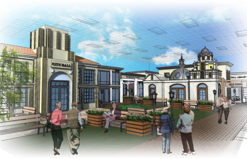 An artist's rendering of Town Square, a miniature indoor village for Alzheimer's and dementia patients that will soon be built inside a Chula Vista warehouse. Town Square will replicate the look of San Diego in the 1950s-'60s.