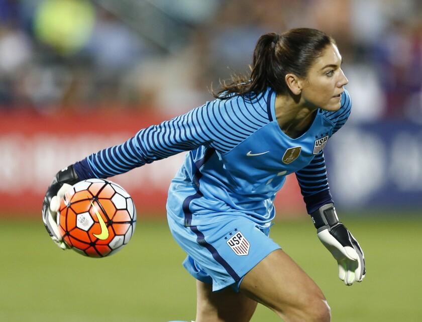 U.S. goalkeeper Hope Solo plays against Japan on June 2.