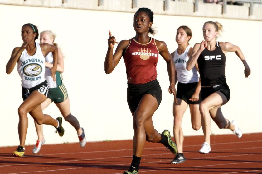 Mission Hills junior Suzie Acolatse finished first at 100 and 200 meters at the Escondido Invitational.