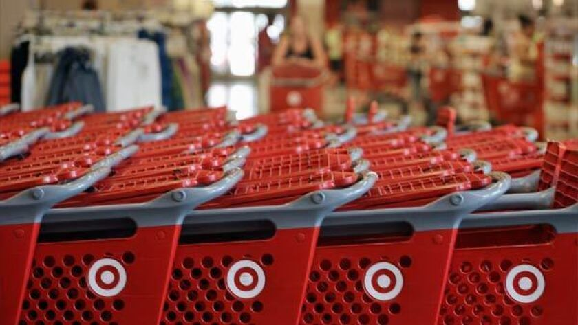Shopping carts in a Target store.