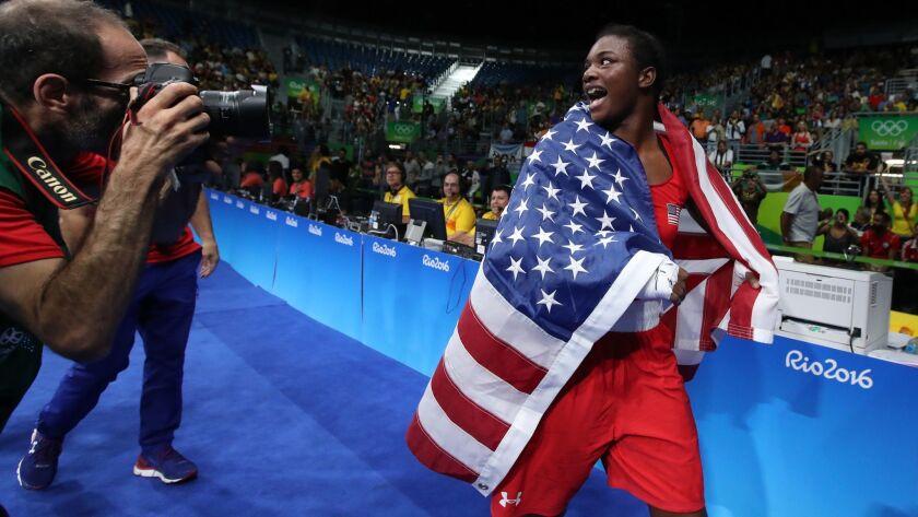 Claressa Shields celebrates during the 2016 Olympics.