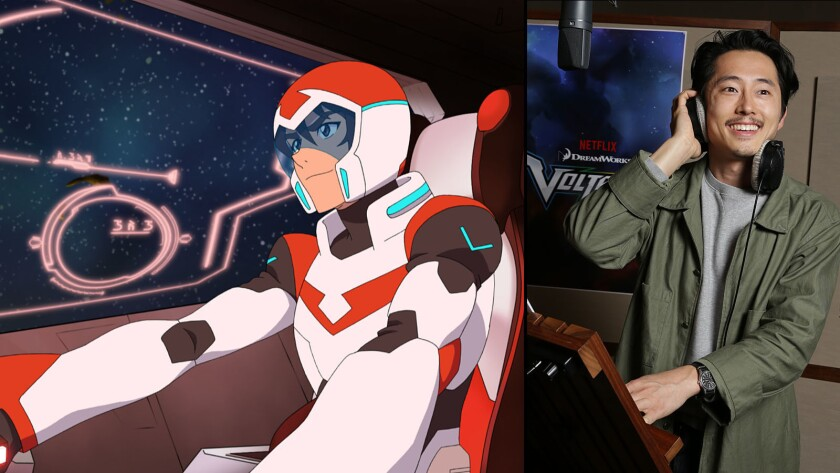 """Keith from """"Voltron: Legendary Defender,"""" left, and actor Steven Yeun, who voices the character."""